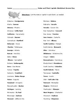 50 States and Their Capitals with Answer Key