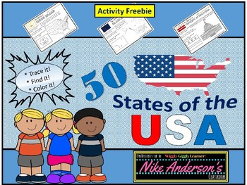 50 States of the USA FREEBIE Map and Flags Activity
