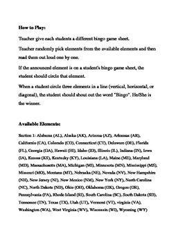 50 States of the USA Bingo Game (H&I Bingo Game Sheets) - 3 X 3
