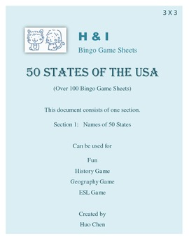 50 States of the USA Bingo Game (H&I Bingo Game Sheets) - 3 X 3