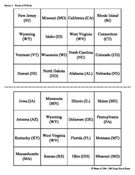 50 States of the USA Bingo Game (H&I Bingo Game Sheets) - 4 X 4