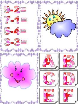 Classroom Decor - Sun and Cloud - Flash cards - Alphabet - Number