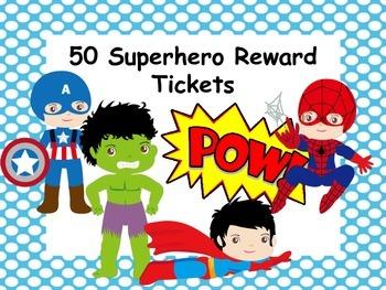 50 Superhero Reward Tickets
