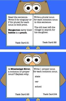Fall Review ELA Task Cards Nouns Common Core! Morning Work Grade 3