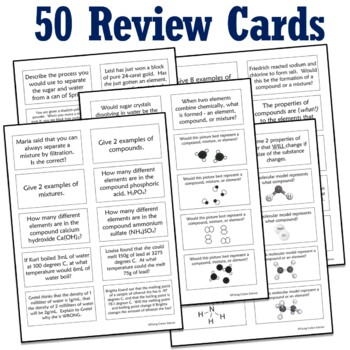 50 Questions - Test Review Card Game - Pure Substance vs. Mixtures Review