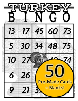50 Thanksgiving Turkey Bingo Cards