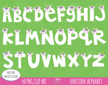 50% UNICORN clipart, unicorn letters clipart, unicorn graphics, CUTE ALPHABET
