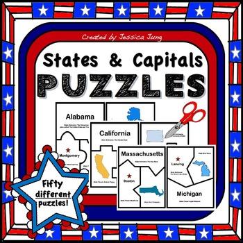 States & Capitals Puzzles