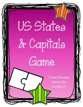 50 U.S. States Review Game.  States and Capitals.  Puzzle Pieces. Center