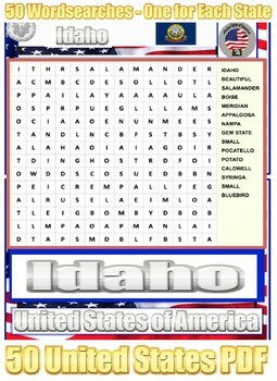 50 US States - Symbol Fact Cards, 50 Word Searches, U.S.A. - 110 Page PDF File