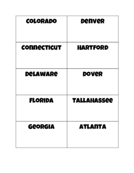 50 US States and Capitals Flash Cards