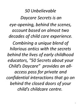 50 Unbelievable Secrets about your Child's Daycare