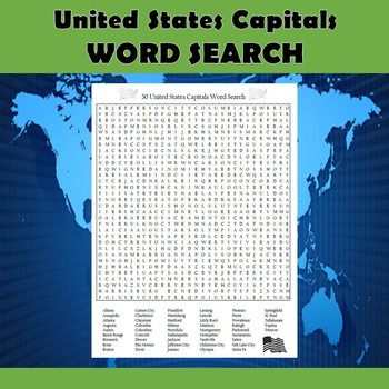 50 United States Capitals Word Search Puzzle Differentiated 2-Pack