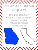 50 United States Clip Art - two of each state