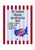 50 US States Identification:  maps, quizzes, final test
