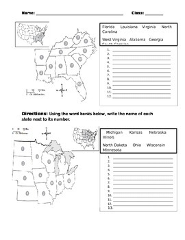 50 United States by Region Test with Word Bank & Answer ...