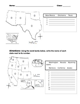 50 United States by Region Test with Word Bank & Answer Key