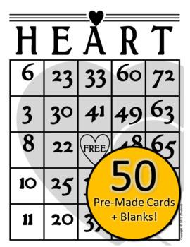 50 Valentine's Day Heart Bingo Cards