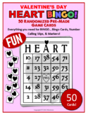50 Randomized Pre-Made Valentine's Day Party Activity Heart Bingo Game Cards!