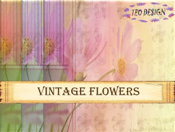 Maps - Vintage Flowers- 40 Digital Papers-  Personal or Commercial Use