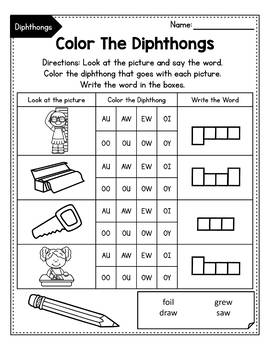 Vowel Diphthongs oi, oy, ou, ow - Diphthongs Worksheets