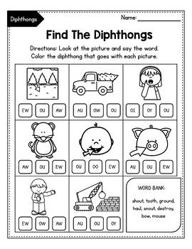 Vowel Diphthongs oi, oy, ou, ow - Dipthongs Worksheets