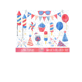 50% WATERCOLOR FOURTH OF july clipart, 4TH OF JULY graphics, independence day