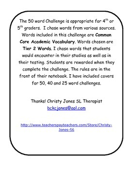TIER 2 VOCABULARY- 50 WORD CHALLENGE for Upper Elementary Grades.