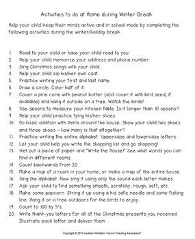 Christmas Break Activities to do at Home | Christmas Activities for Kindergarten