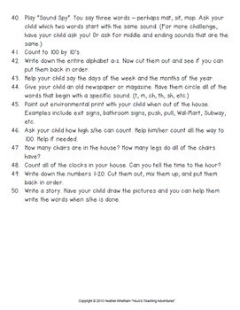 Christmas Break Packet to do at Home with Preschool or Kindergarten Parents