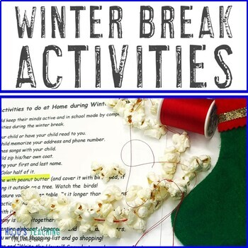 Winter Break Packet to do at Home | Also works for Distance Learning COVID19