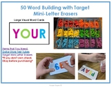 50 Word Building Task Cards to be used with Target Mini-Letter Eraser