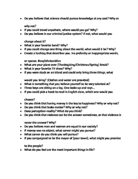 50 Writing Prompts for High School English!