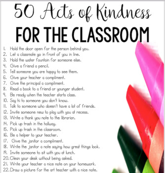 50 acts of kindness poster for the classroom
