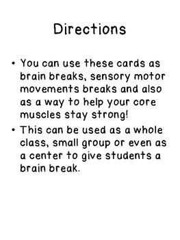 50 brain break cards, posture, core, sensory motor strength, desk visual,handout