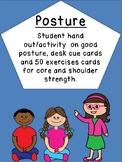 50 brain break cards, posture, core, sensory motor strength, desk visual,handout