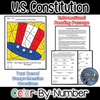 Constitution Day Informational Text Color by Number Activity
