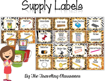 Editable Classroom Supply Labels {Jungle Zoo Safari Theme }