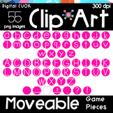 Digital Apps Game Pieces Circle Letters PINK Clipart