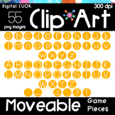 Digital Apps Game Pieces Circle Letters YELLOW Clipart