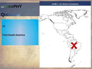 50 geography questions on an interactive map - WESTERN HEMISPHERE VERSION