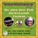 No Prep! Groundhog Day Crowns For Speech Therapy- Articula