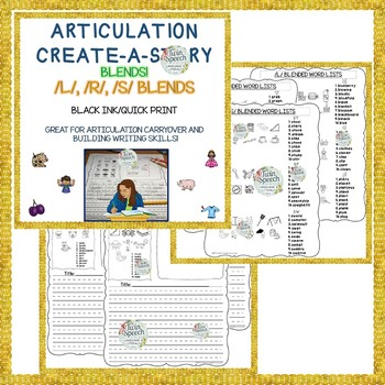 CREATE-A-STORY ARTICULATION BUNDLE! - 3rd to 12th Grade Speech Carryover
