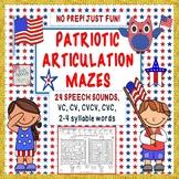 Patriotic Articulation Mazes- NO PREP - Just Fun! 24 sounds+ CV to 4 syllables
