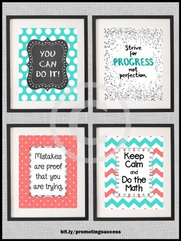 Math Teacher Appreciation Week Gifts Motivational Quote Posters Aqua & Coral