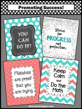 Aqua and Coral Theme, Printable Math Posters Classroom Teacher Appreciation Gift