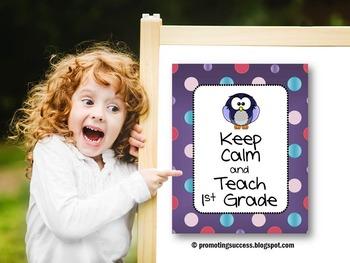 1st Grade Teacher Appreciation Week Gift Keep Calm Poster