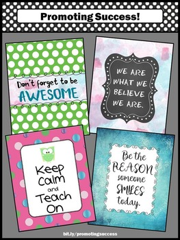 Owl Themed Classroom Posters, back to School Motivational Quotes 8x10 16x20