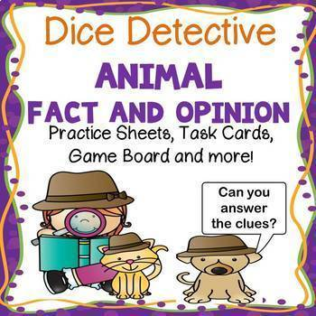 Reading Games - Dice Detective Fact and Opinion Task Cards and Game!