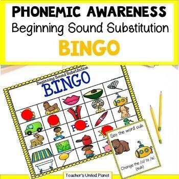 Phonological Awareness Beginning Sound Substitution Bingo